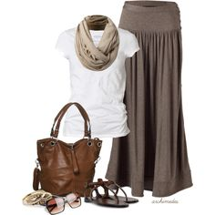 Soft browns and taupes create a comfy outfit.