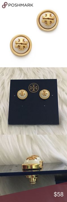 "TORY BURCH Melodie Stud Earrings Details: From the Melodie Collection. A sleek, petite cabochon in a gleaming frame serves as the backdrop to Tory Burch's signature medallion logo, in a chic take on the everyday stud earring.   •Resin •Goldtone brass •Diameter, about 0.5"" •Post back •Imported Tory Burch Jewelry Earrings"