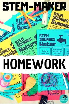 STEM SQUARES are student choice boards that encourage children to have a choice in the tasks that they complete in a Maker Space, STEM class or as homework. These tasks promote creative problem solving and critical thinking skills. In this BUNDLE you will get 96 different tasks to choose from Each STEM - MAKER choice board is themed to allow teachers to align STEM SQUARES to their classroom topics. #STEM #choiceboards #makerspace #homework