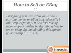 Learn to choose the right category for your products to be sold on your ebay store with the help of the tips and valuable information in this app. Also learn about 10 steps to successful selling on ebay that no one will ever tell you. http://innateapps.com/GuideToCashingInOnEBay.php