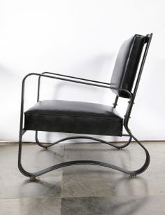 Jacques Adnet; Brass, Leather and Leather over Metal Armchair, 1950s.