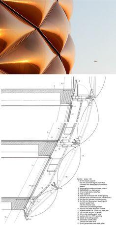 Section, Allianz Arena. Herzog & de Meuron, (www. Detail Architecture, Architecture Drawings, Gothic Architecture, Amazing Architecture, Interior Architecture, Architecture Plan, Building Skin, Building Facade, Membrane Structure
