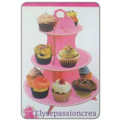 présentoir à gâteaux rose à petit pois 34 x 30 cm : Décoration de table par elyse-passion-crea