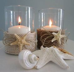 *Main Bathroom -Nautical theme* *Pretty* Nautical Decor Candle Holder w Nautical Rope diy. minus the little frilly thinks under the star fish Seashell Crafts, Beach Crafts, Diy And Crafts, Rope Crafts, Deco Marine, Nautical Bedroom, Beach Bathrooms, Boho Bathroom, Modern Bathroom