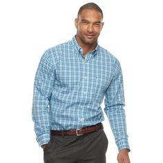 Big & Tall IZOD Sport Flex Plaid Button-Down Shirt, Men's, Size: Xl Tall, Brt Blue