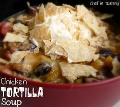 Anything in a crock pot is a must with my busy family.....Chicken tortilla soup