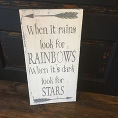 A personal favorite from my Etsy shop https://www.etsy.com/listing/469414280/when-it-rains-look-for-rainbows