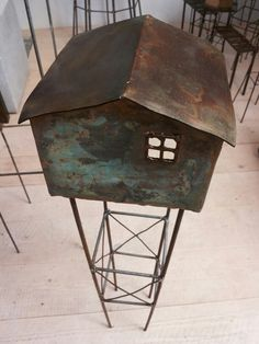 Toren Steel Planter, House Illustration, Wood Steel, Ceramic Houses, Building Art, Architectural Models, Built Environment, Miniature Houses, Metal Crafts
