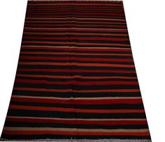 black and red striped rug 6x10 oversized rug modern by POCCARugs