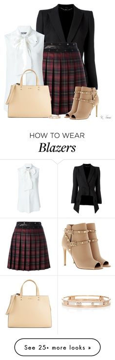 """""""Just a little Plaid"""" by ksims-1 on Polyvore featuring Alexander McQueen, Giamba, Valentino, Moschino, Calvin Klein and Messika"""