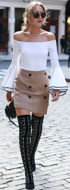 #fall #trending #outfits | Black and White + Pop Of Tan