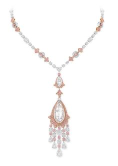 Graff Diamonds | Graff diamond necklace featuring 388 pink and white diamonds and a 30 ...