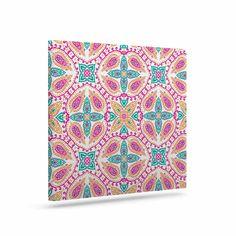"Nandita Singh ""Boho In Multicolor"" Pink Abstract Canvas Art"