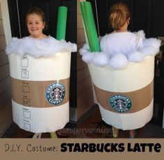 pin it.  DIY Costume - Starbucks Latte A friend of mine posted this DIY costume on her Facebook profile and I just had to post. Look at this DIY Starbucks costume she made for her daughter! Here is what she said about putting this costume together - I...