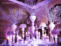 lilac and purple wedding buffet with hanging crystal balls