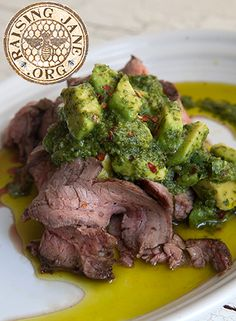 Grilled Flank Steak with Avocado Chimichurri: Prep Time: 25 Minutes Cook Time: 8-12 Minutes Makes: 4 Servings
