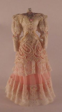 Lace Dress on Manniquin by Anabela - $340.00 : Swan House Miniatures, Artisan Miniatures for Dollhouses and Roomboxes
