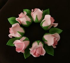 24 Edible Small Sugar Roses with 24 Green Leaves by SweetDejaVu, $48.00