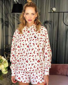 8e3ce7fb846 Spott - Chiara Ferragni wears a cherry outfit by Champion