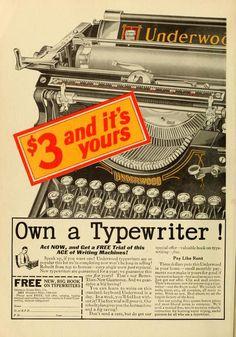 Underwod 1926. Hacia 1920, la máquina de escribir «manual» o «mecánica» había alcanzado un diseño más o menos estándar. Había pequeñas variaciones de un fabricante a otro, pero la mayoría de las máquinas seguía el mismo diseño.