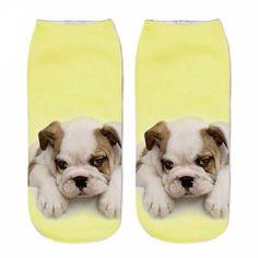 Unisex 3D Print Boxer/Bulldog Cute Dog Ankle Socks