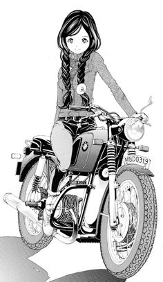 Mangá & BMW vintage bike. Girl Riding Motorcycle, Women Riding Motorcycles, Vintage Motorcycles, Motorcycle Posters, Retro Motorcycle, Lady Biker, Biker Girl, Scooters, Scooter Moto