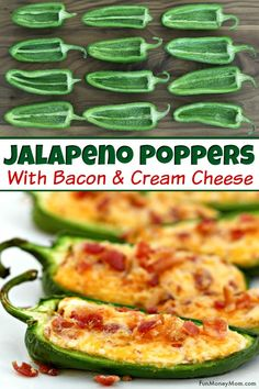 Baked Jalapeno Poppers With Cream Cheese Cheddar 038 Bacon Jalapeno Poppers These easy appetizers are perfect for tailgating parties cookouts or any other occasion where you need party food poppers jalapenopoppers japapenos partyfood Yummy Appetizers, Appetizers For Party, Appetizer Recipes, Party Food Entrees, Easiest Appetizers, Mexican Appetizers Easy, Bite Size Appetizers, Girls Night Appetizers, Simple Appetizers