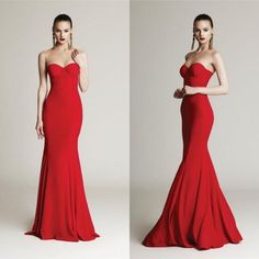 Exquisite Mermaid Fashion Evening Dresses 2016 Red Sweetheart Sweep Bodice Fitted Sleeveless Satin Long Prom Party Celebrity Formal Gowns Online with $99.69/Piece on Hjklp88's Store