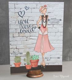 February 2015 Paper Doll Art Journaling Page. Prima Paper Dolls, Prima Doll Stamps, Julie Nutting, Doll Videos, Art Journal Pages, Art Journaling, Paint Cards, Smash Book Pages, Recycled Art