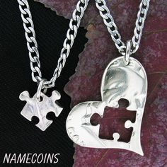 Puzzle Piece Necklace Heart Silver half dollar hand by NameCoins