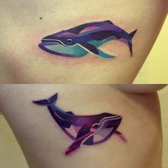 colorful whale tail tattoo - Google Search