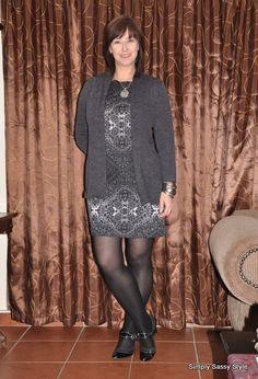 Grey dress from Foschini Grey cardigan Pantyhose Fashion, Grey Cardigan, Alexa Chung, Forever Young, Big And Beautiful, Gray Dress, Well Dressed, Hosiery, Plus Size
