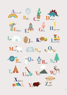 A useful poster to learn the alphabet to your children in a fun way - Pre-school Bethany Ford Alphabet Poster, Alphabet Print, Alphabet For Kids, Animal Alphabet, Learning The Alphabet, Alphabet And Numbers, Kids Learning, French Alphabet, Alphabet Images