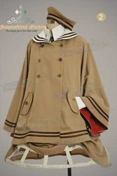 Military Lolita Sailor Collar in Brown~Fan+Friend Cute Fashion, Girl Fashion, Vintage Fashion, Fashion Design, Old Fashion Dresses, Fashion Outfits, Classy Outfits, Cute Outfits, Lolita Mode