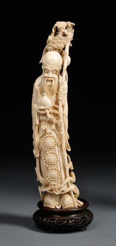 Ivory Carving on Wood Stand Les Oeuvres, Bones, Auction, Ivory, Carving, Statue, Wood, Art, Art Background