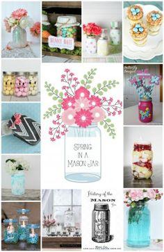 Spring in a Mason Jar - 13 Amazing Spring Mason Jar recipes, crafts, DIY and decor ideas! www.settingforfour.com
