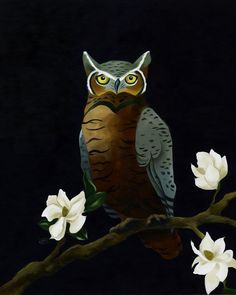 Great Horned Owl and Magnolias 8x10 Print by BarnumsWinter on Etsy