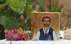 """f St Manouil of Sfakia. Another heroic """"Manolis"""" of Crete, wearing the traditional costume of my island. He is part of the Cretan themes I always like painting. The miniature is painted with egg tempera in small thick rectangular gessoed wooden panel by angelicon"""