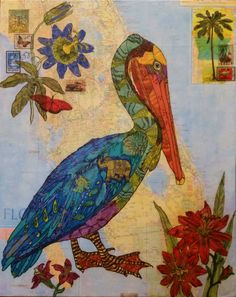Pelican paper napkin collage on map of Florida