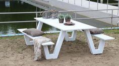 witte aluminium picknicktafel 220 cm wit - Houtcomposietdiscount.nl