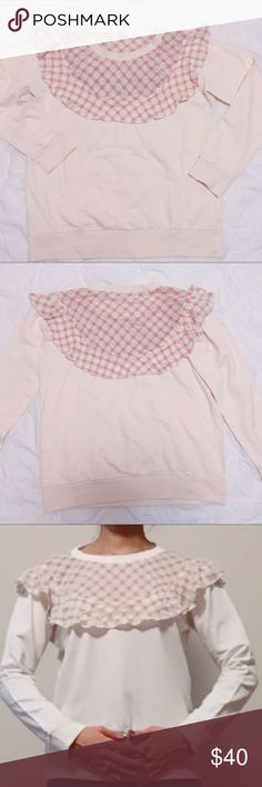 💕Lovely Ivory sweatshirt with pink lacy frill💕 Ivory sweatshirt with pink lace details. Never worn, excellent condition. Pink check part is lightly see-through and it's on both front and back. Cute little frill details. No fleece lining, perfect for spring season 🌸 NOT from listed brand. Feel free to ask any questions if you have. Thank you 😊 Zara Tops Sweatshirts & Hoodies