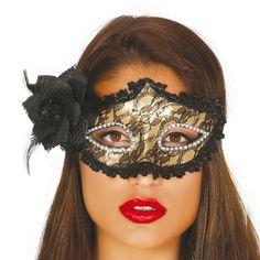 Antifaz Dorado con Rosa #mascaras #antifaces #carnaval