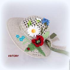 """Шляпы ручной работы. Ярмарка Мастеров - ручная работа. Купить Шляпа """"Полевые цветы"""". Handmade. Панама, летняя шляпа"""