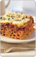 Pastitsio (pasta baked with meat sauce)----This traditional Greek meal is a tasty spin on lasagne that the whole family will love. Freeze for a quick dinner another night or have leftovers for lunch. Preparation: 0:20, Cook: 1:00, Serves: 6 to 8.