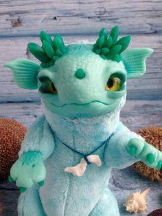 Baby  Mint Crystal Dragon fantasy plush animals Ooak Fantasy