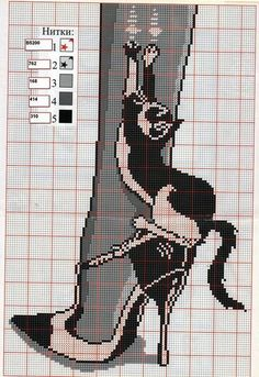 0 point de croix humour chat filant un collant - cross stitch humor cat spinning tights