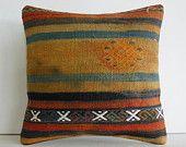"16""dark faded unusual wool turkish cushion throw pillow kilim pillow decorative pillow cover accent pillow outdoor floor sham bohemian decor"