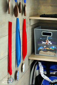 Sports Gear Storage Shelves in a Small Space - Pretty Handy Girl Sports Equipment Storage, Storage Shelves, Gears, Small Spaces, Pretty, Storage Racks, Gear Train, Small Space, Tiny Spaces