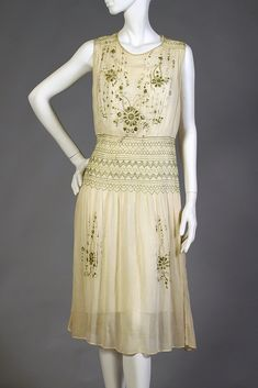 Sheer cotton dress with embroidery and smocking, American, ca. 1925, KSUM 2011.14.9.
