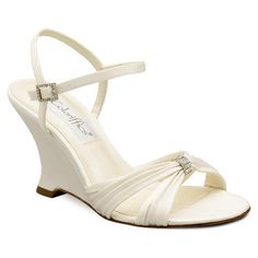 Ivory Satin Rhinestone Bridal Wedge Heel Shoes